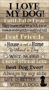 """Dogs I LOVE My Dog Natural Wood Plank Wall Fabric   23"""" x 42""""  Panel   #C8552"""