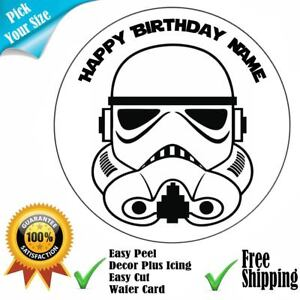 Stormtrooper Star Wars Theme Personalised Edible Cake Topper Set Icing or Wafer