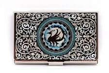 Mother of Pearl Metal Crow Business Name ID Card Case Money Cash Holder Wallet