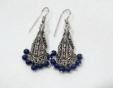 Beautiful Indian Earrings Silver Oxidized Dangling Earrings With Blue Beads.