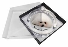 Bichon Frise Dog 'Yours Forever' Glass Paperweight in Gift Box Christm, AD-BF3PW