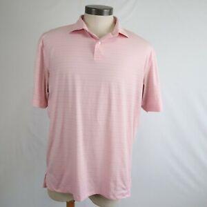 Peter Millar Featherweight Pink Short Sleeve Polo Shirt Men's Size Large