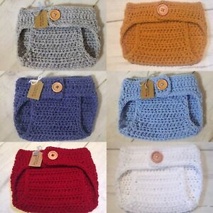 Handmade Crocheted/Knitted Adjustable Waist Nappy Diaper Cover 0-3 Months