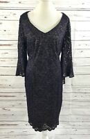 Alex Evenings Lace Dress 3/4 Bell Sleeves Blue With Gold Accent  Size 18W NWT