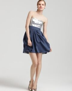 AQUA Sequined Top Strapless Mini Dress In Teal Size 8