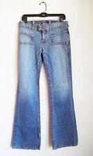 Von Dutch Distressed Denim Jeans Flare Leg Orange Gold Stitch Sz 29 LEVI OCTANE