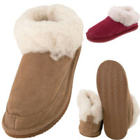Ladies Super Soft Genuine Fluffy Lambswool Mix Bootie Slippers Hard Sole UK5 UK6