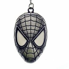 Comic Superhero Spider Man Mask Silver Metal Keychain Gift Key Ring Chain