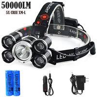 50000LM LED Headlamp XM-L T6 4 mode Headlight Flashlight head Torch + 2x battery