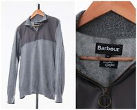 Mens BARBOUR Weather Comfort Pullover Sweater Jumper Knitted Grey Size M