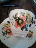 ROYAL IMPERIAL CHINA CUP AND SAUCER SET ~ ORANGE MUM AND YELLOW ROSE ~ EUC