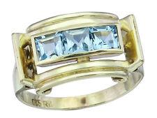 """Ring Retro """"Aquamarine"""" 585er Gelbgold ca. 1950"""