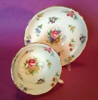 Tuscan Pedestal Teacup And Saucer - Tiny Chintz Multicolor Flowers - England