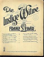 Franz Lehar, Die lustige Witwe ~ Potpourri Nr. II, übergroße, alte Noten