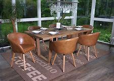 6x chaise de salle à manger Malmö T633 fauteuil, rétro ~ similicuir, aspect daim