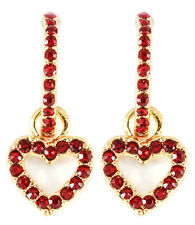 Gold Tone Red Crystal Stud Heart Dangle Ear Posts - E17M