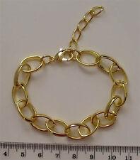 10x Placcato Oro Completo Wide link Bracciale Catene con Extender, per Ciondoli ecc.