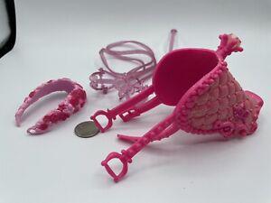 Barbie Doll Horse Saddle & Bridle Pink Mattel PRINCESS GLITTER