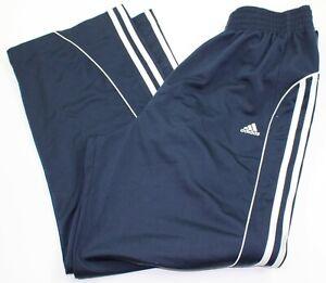 Adidas Men Sze Medium Blue w White Stripes Tear Away Snap Athletic Running Pants