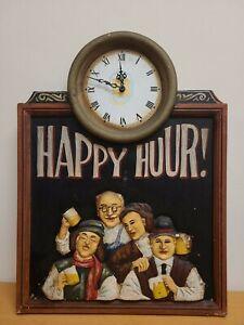 Happy Hour Clock 3D Wooden Sign Vintage Bar Man Cave