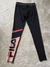 New listing BNWT Black Pink Fila Calf Panel Fitness Gym Leggings XS Sport Running Workout