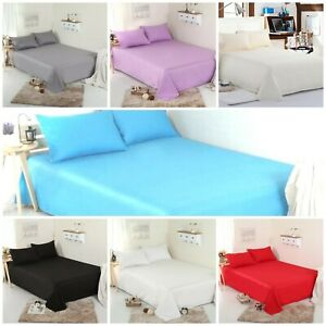 100% Thermal Flannelette Flat Bed Sheet Single Double King Size Brushed Cotton