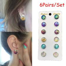 6pairs Beauty Mermaid Scale Round Crystals Assorted Stud Earrings Set 12mm Stud-