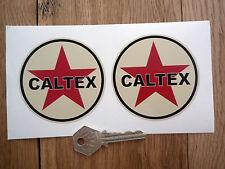"CALTEX Nero & Beige adesivi auto classiche 3"" Vintage Benzina Rétro Hot Rod"