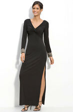 JS Boutique Embellished Cuff Long Sleeve Black Gown Dress Sz 6 New