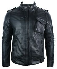 Mens Leather Jacket Vintage Saints Military Biker Style Black Retro Slim Fit