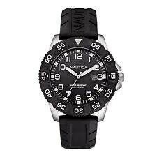 NEW NAUTICA NSR 103 BLACK+SILVER+WHITE TONE,SILICONE BAND SPORT WATCH N12643G