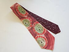 1940s Maroon Multi-Color Hand Painted Necktie Wide Tie Swing Rockabilly Atomic