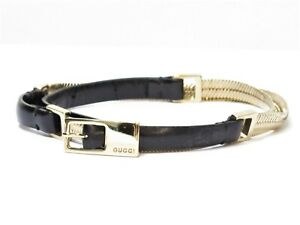 """Authentic GUCCI Leather Women's Belt 24""""-26"""" Black Italy 18682873"""