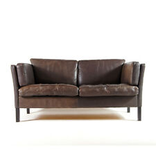 Retro Vintage Danish Leather 2 Love Seat Seater Sofa 1960s Mid Century Modern