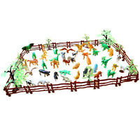 68pcs/set Farm/Zoo/Wild/Jungle Animal Figure Model in Fence Toy Collectibles