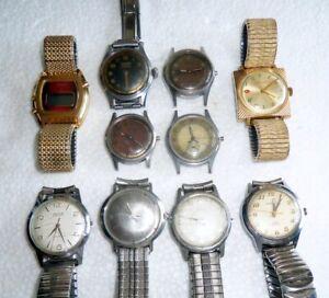 Lot Vintage Wristwatches Running 4 Repair