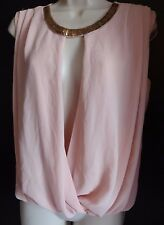 Body Central Light Pink Color Tank Top Size Juniors Small Built in Necklace