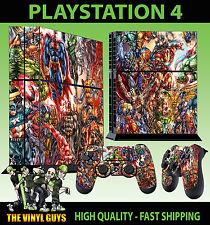 PS4 Skin Marvel DC Superhero Comic Group Sticker + Controller Decals Standing