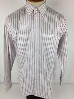 Banana Republic Mens Medium Blue Orange Striped Long Sleeve Button Front Shirt