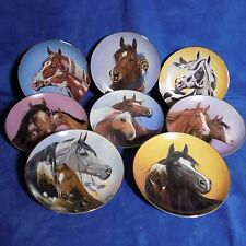 Set Of 8 Danbury Mint A Heritage Of Horses By Derk Hansen - Coa - Euc