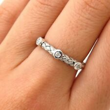 925 Sterling Silver Real Diamond Woven Design Ring