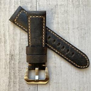 Rustique Marron Bracelet Montre Cuir Poignet Bande Pour 22mm 24mm Panerai Pam