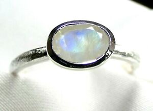 Mondstein Ring 925 Silber Gr. 18,4 (58) mattiert fac. Stein mit Blauschimmer NEU