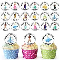 The Disney Girls / Princess 24 Personalised Pre-cut Edible Cupcake Toppers Party