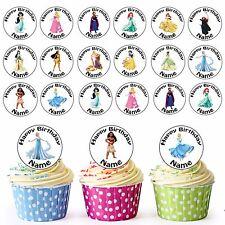 La principessa Disney Ragazze/24 Personalizzati Pre-tagliati Per Cupcake Commestibili Decorazioni per party
