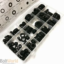 125 x GROMMET SET RUBBER BLANKING GROMMETS OPEN CLOSED ASSORTED SIZES IN CASE