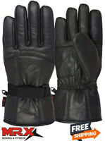 Mens Motorbike Leather Gloves Driving Riding Winter Gauntle Glove Thermal Lining