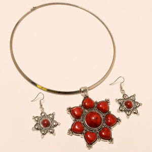 Coral Necklaces Earrings 925 Silver Coral Turkish Boho Necklace Coral Jewelry