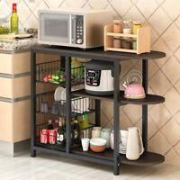 4-Tier Microwave Oven Cart Bakers Kitchen Rack Storage Shelves Stand Metal USA
