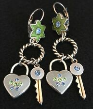 Designer Statement Earrings Silver Stars Hearts Enamel Crystal Accents 2J